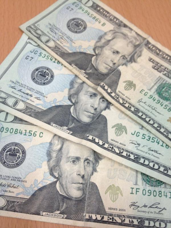 3twenty dollar bills